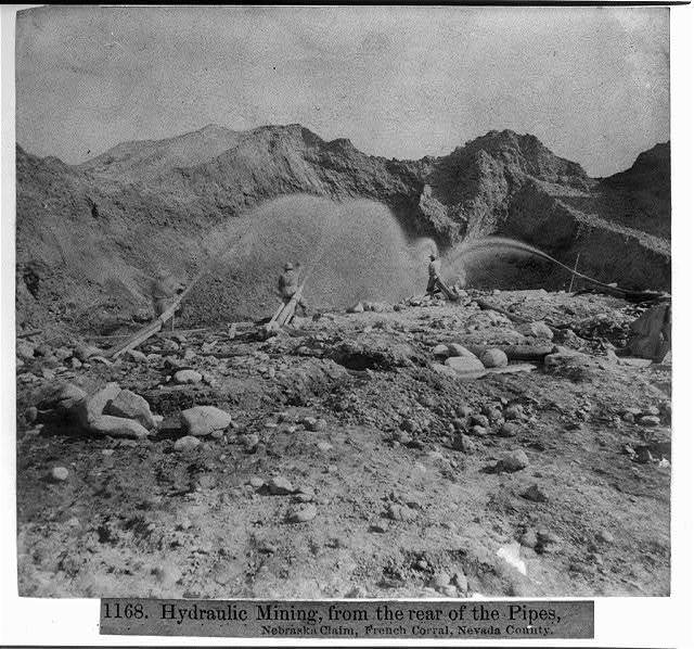 Hydraulic Mining, from the rear of the Pipes, Nebraska Claim, French Corral, Nevada County