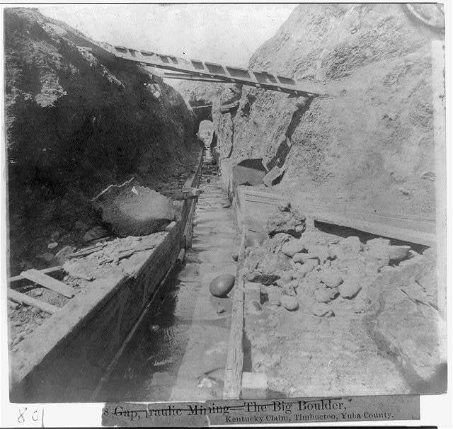 Hydraulic mining - the sluice and tunnel, Timbuctoo, Yuba County