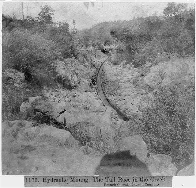 Hydraulic Mining - The Tail Race in the Creek - French Corral, Nevada County
