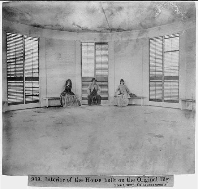 Interior of the house built on the Original Big Tree Stump, Calaveras County