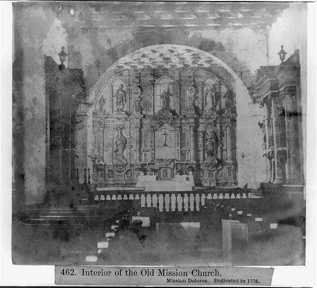 Interior of the Old Mission Church, Mission Dolores - Dedicated in 1776