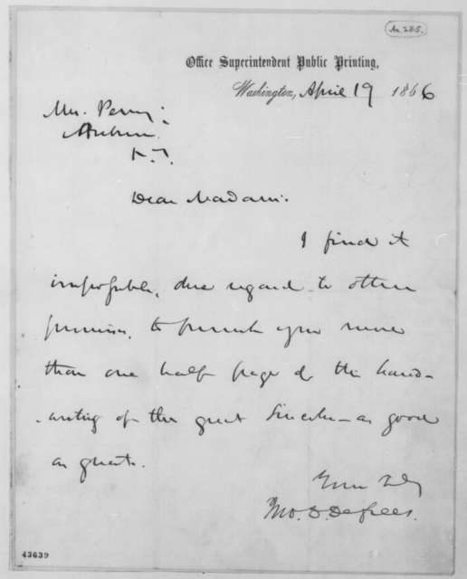 John D. Defrees to Mrs. Perry, Thursday, April 19, 1866  (Sends sample of Lincoln's handwriting)