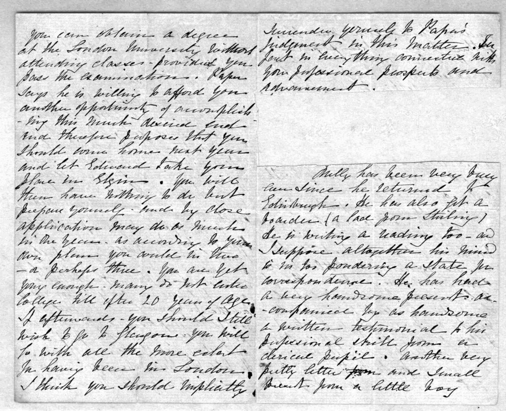 Letter from Eliza Symonds Bell to Alexander Graham Bell, February 9, 1866