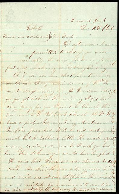 Letter from Mattie V. Thomas to Uriah W. Oblinger, December 16, 1866