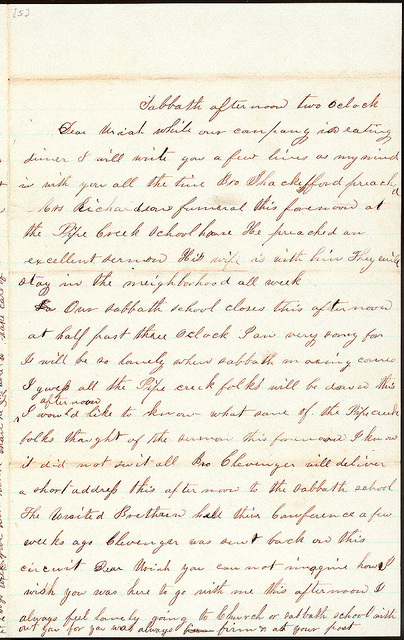 Letter from Mattie V. Thomas to Uriah W. Oblinger, October 6, 1866