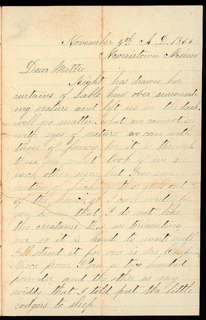 Letter from Uriah W. Oblinger to Mattie V. Thomas, November 4, 1866
