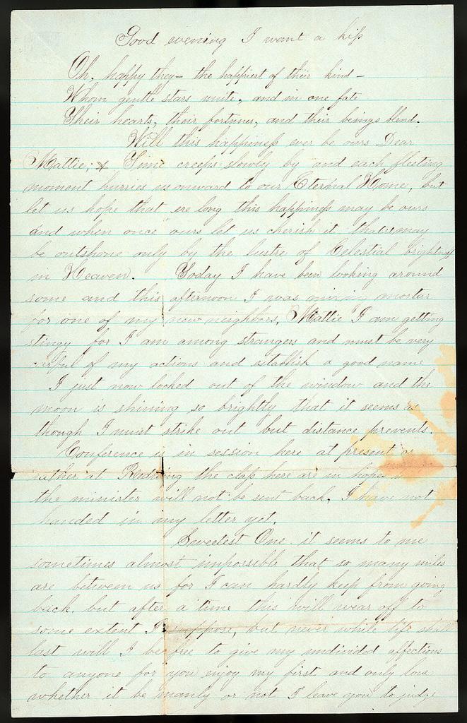 Letter from Uriah W. Oblinger to Mattie V. Thomas, September 23, 1866