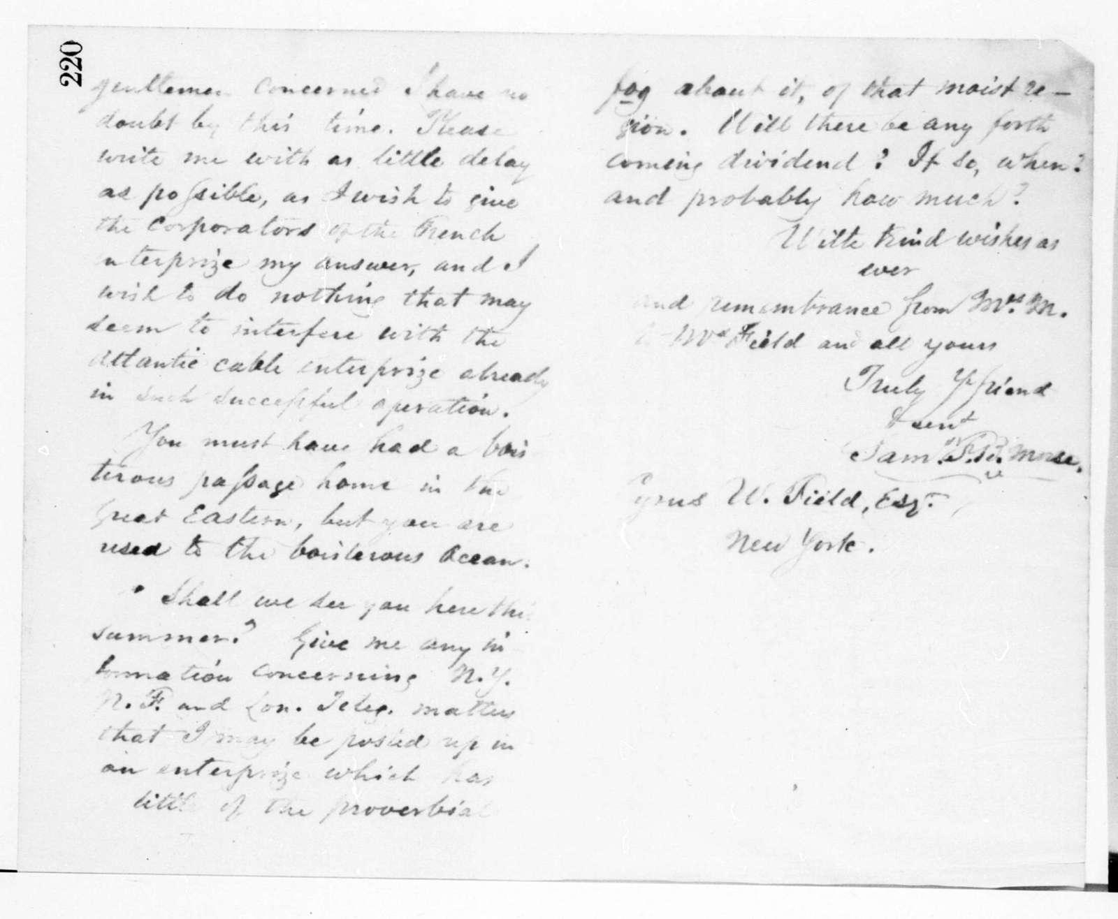 Letterbook---29 September 1866-17 February 1868