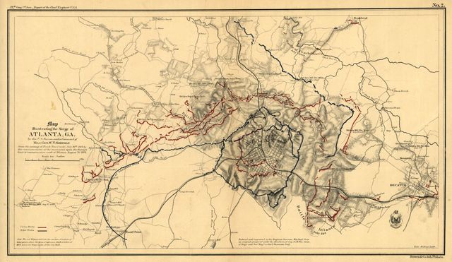 Map illustrating the siege of Atlanta, Ga. by the U.S. forces under command of Maj. Gen. W. T. Sherman, from the passage of Peach Tree Creek, July 19th 1864, to the commencement of the movement upon the enemy's lines of communication south of Atlanta, August 26, 1864.