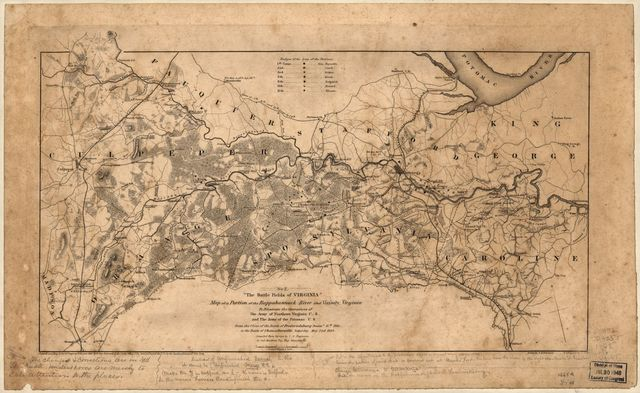 Map of a portion of the Rappahannock River and vicinity, Virginia : to illustrate the operations of the Army of Northern Virginia C.S. and the Army of the Potomac U.S. from the close of the Battle of Fredericksburg, Decem. 15th 1862, to the Battle of Chancellorsville, Saturday, May 2nd 1863 /
