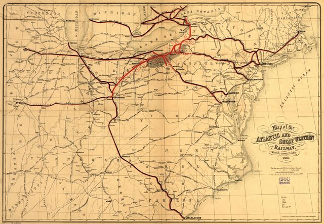 Map of the Atlantic and Great Western Railway, with its connections, 1866.
