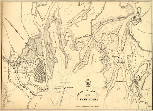 Map of the defences of the city of Mobile. [1862-64]