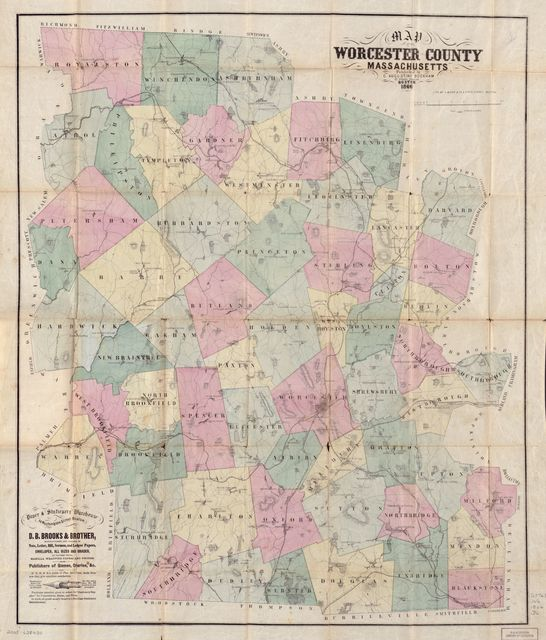 Map of Worcester County, Massachusetts.