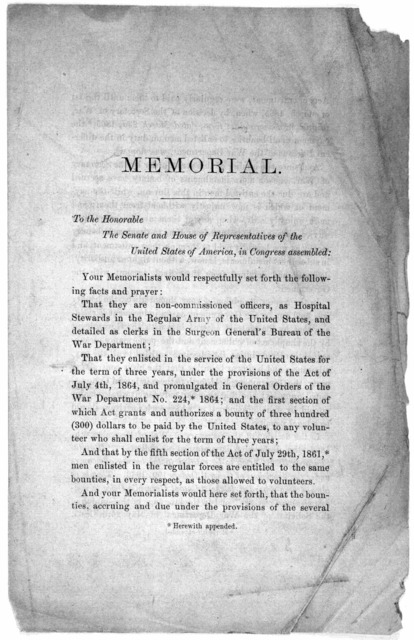 Memorial. To the Honorable The Senate and House of representatives of the United States of America, in Congress assembled ... That they are non-commissioned officers, as hospital stewards in the regular army of the United States, and detailed as