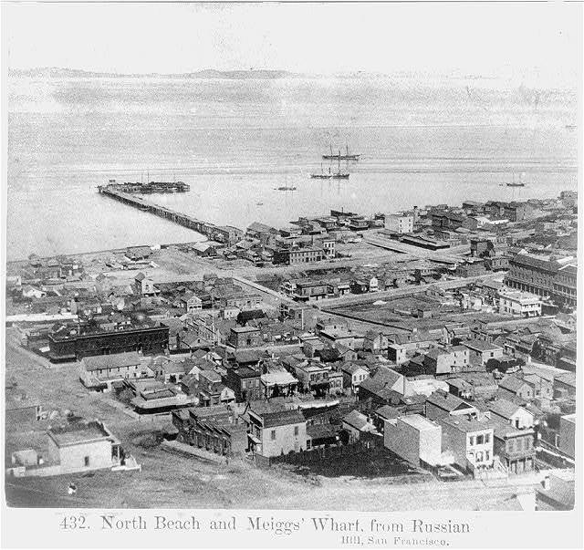 North Beach and Meiggs' Wharf, from Russian Hill, San Francisco