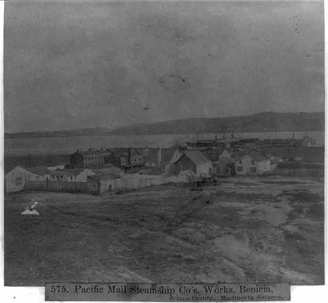 Pacific Mail Steamship Co.'s Works, Benicia, Solano County, Maretinez in the distance