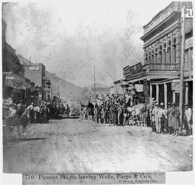 Pioneer Stage leaving Wells, Fargo & Co.'s.  C Street, Virginia City