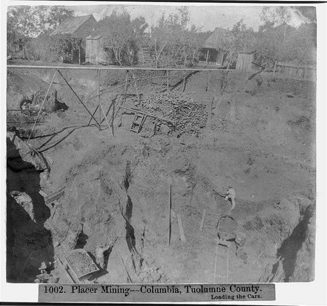 Placer Mining--Columbia, Tuolumne Co., loading the cars