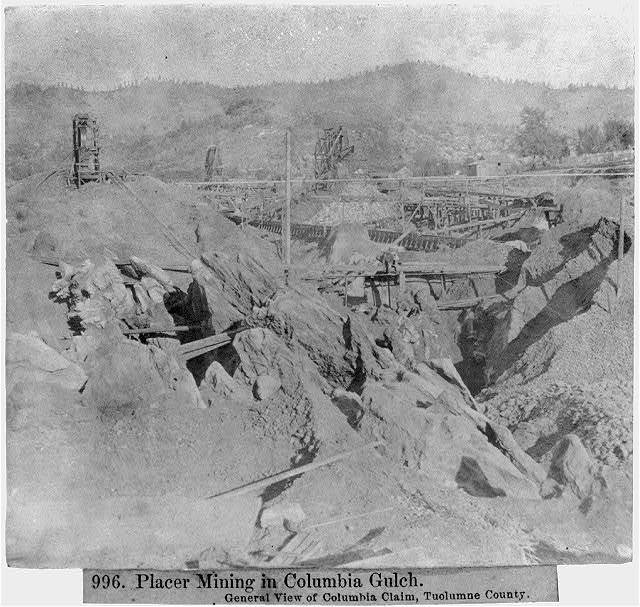 Placer Mining in Columbia Gulch - General view of Columbia claim, Tuolumne Co.