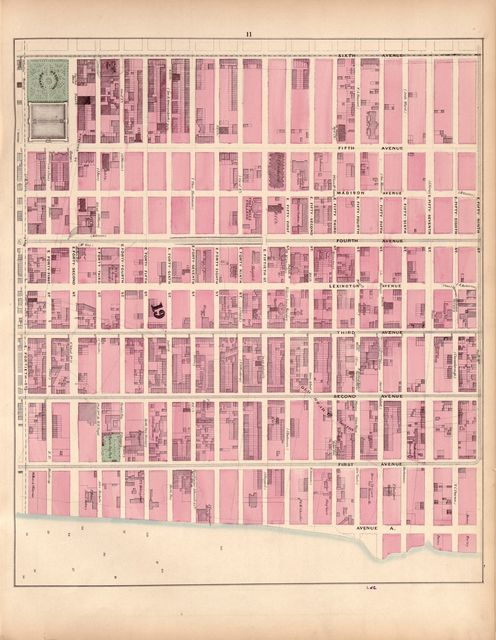 Plan of New York City from the Battery to Spuyten Duyvil Creek : showing every lot and building thereon : old farm lines, street numbers at the corners of blocks, railroads, steamboat landings, bulkhead and pier lines, etc., etc., etc. /