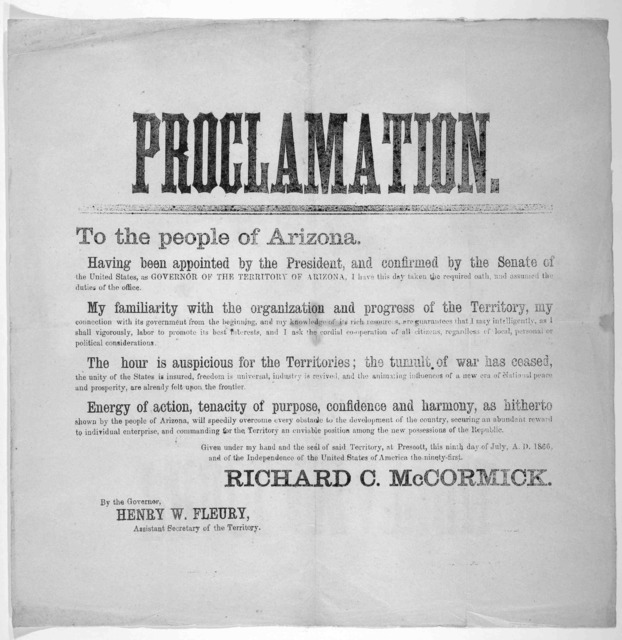 Proclamation to the people of Arizona. July 9, 1866.