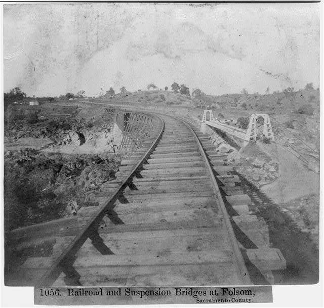 Railroad and suspension bridges at Folsom, Sacramento County