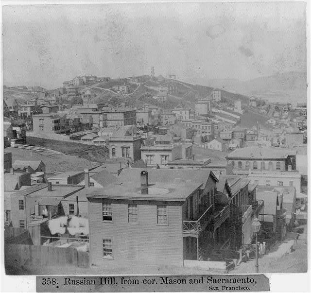 Russian Hill from corner of Mason and Sacramento, San Francisco