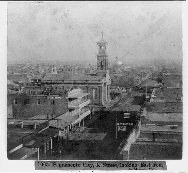Sacramento City, K Street, looking East from the Masonic Hall