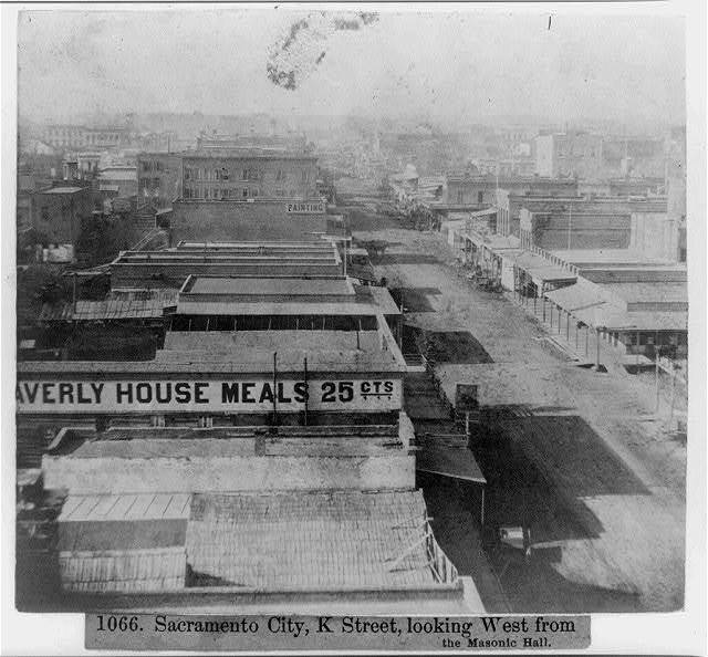 Sacramento City, K Street, looking West from the Masonic Hall - [W]averly House Meals 25 cents, several buildings