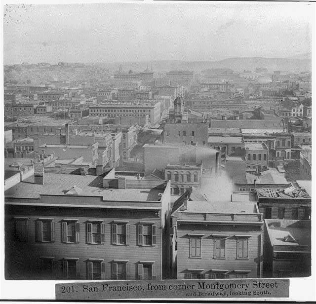 San Francisco, from corner of Montgomery Street, and Broadway, looking South