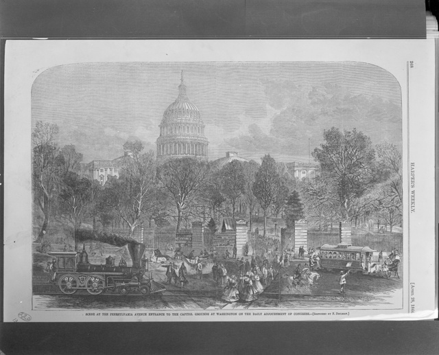 Scene at the Pennsylvania Avenue entrance to the Capitol grounds at Washington on the daily adjournment of Congress
