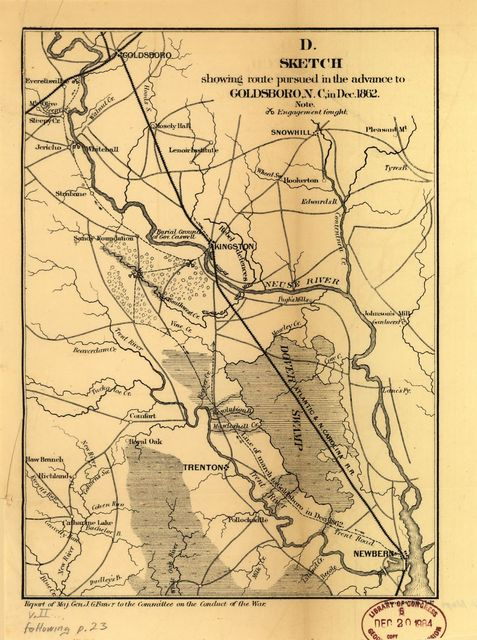 Sketch showing route pursued in the advance to Goldsboro, N.C., in Dec. 1862