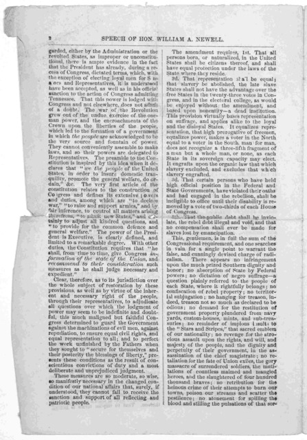 Speech of Hon. William A. Newell, delivered at Freehold. N. J. on Tuesday, September 18, 1866 before the District Convention, in acceptance of his renomination to Congress.