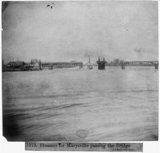 Steamer for Marysville passing the bridge at Sacramento