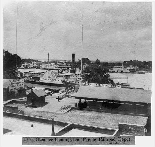Steamer landing, and Pacific Railroad Depot - Sacramento City