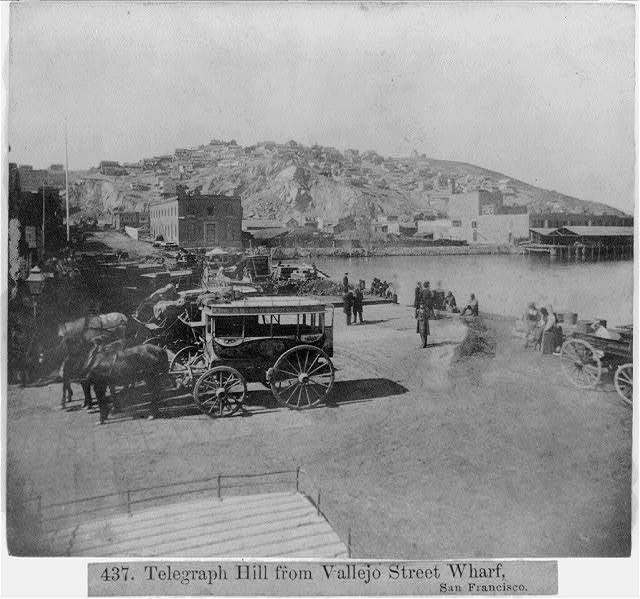 Telegraph hill from Vallejo Street, Wharf--San Francisco