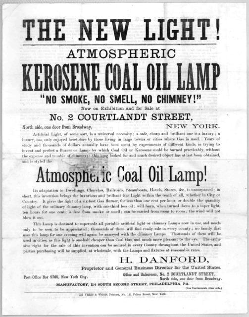 The new light! Atmospheric kerosene coal oil lamp. New York, De Vries & Wood, printers [1866].
