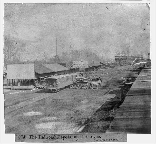 The Railroad Depots, on the levee, Sacramento City