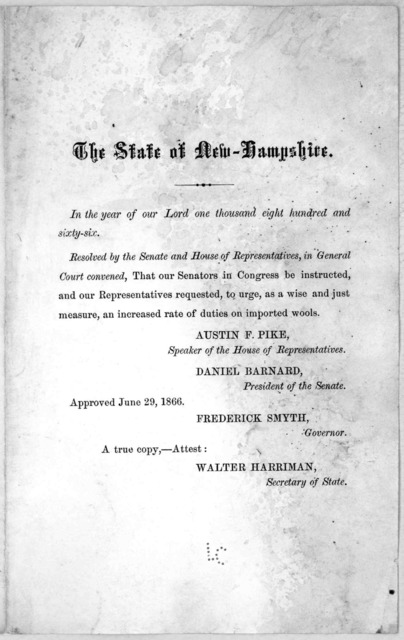 The state of New-Hampshire. In the year of our Lord one thousand eight hundred and sixty-six. Resolved by the Senate and House of representatives, in General Court convened, That our Senators in Congress be instructed ... to urge as a wise and j