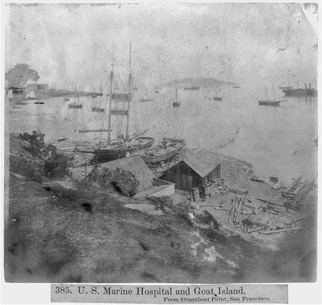U.S. Marine Hospital and Goat Island - From Steamboat Point, San Francisco