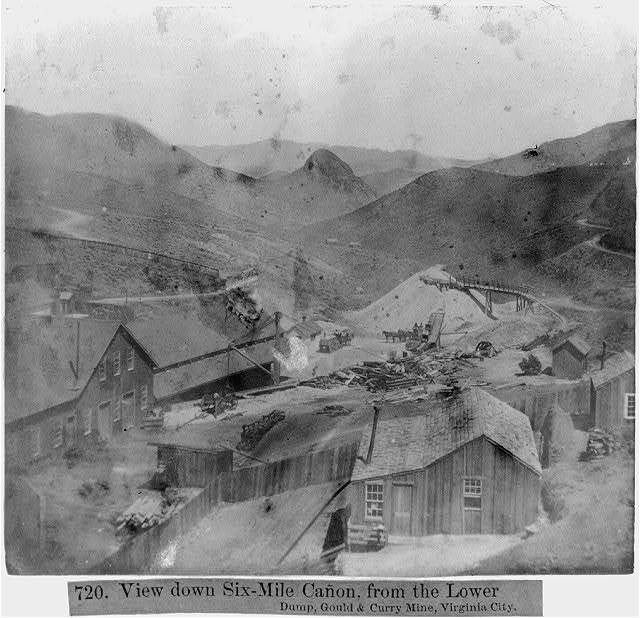 View down Six Mile Canyon, from the Lower Dump, Gould & Curry Mine, Virginia City