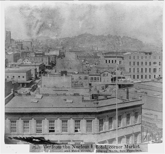 View from the Nucleus hotel, Corner Market & 3rd Streets, looking north, San Francisco