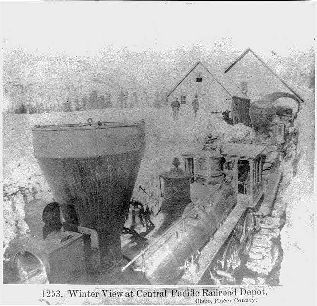 Winter view at Central Pacific Railroad Depot, Cisco, Placer