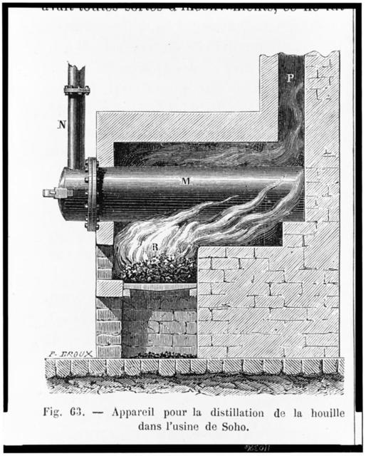 [A kiln or furnace with fire heating coal in a retort to the point of decomposition, the resulting gas passing through a pipe to a system of pipes used to illuminate the Boulton and Watt factory in Soho] / P. Broux.