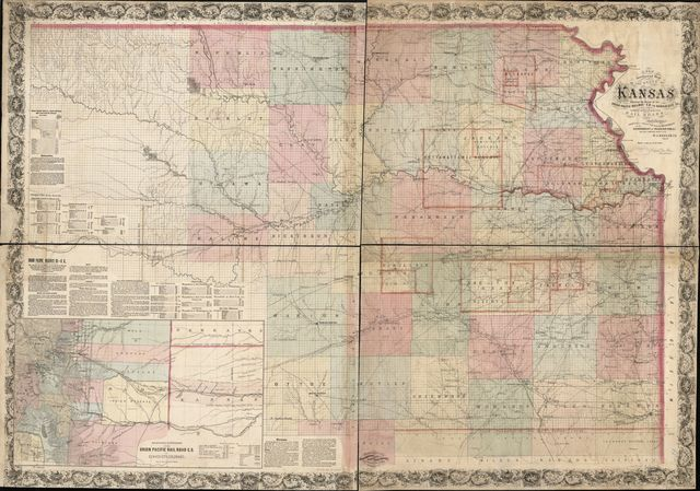 A new sectional map of the state of Kansas showing the route of the Union Pacific Railway--E. D. to Denver City. Col. and complete system of projected rail roads. Information compiled & collected from departments of the government at Washington, D.C. and other authentic sources by W. J. Keeler, C. E. 1867.