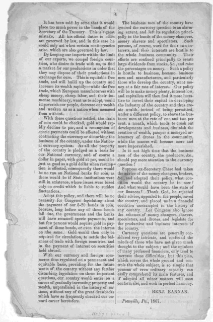 A plan for supplying an ample volume of currency, protecting our industries, and resuming specie payments without contracting the currency. [1867].