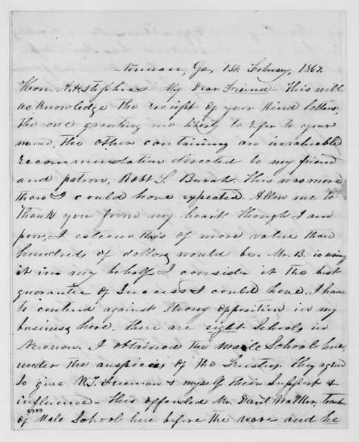 Alexander Hamilton Stephens Papers: General Correspondence, 1784-1886; 1867, Jan. 9-May 10
