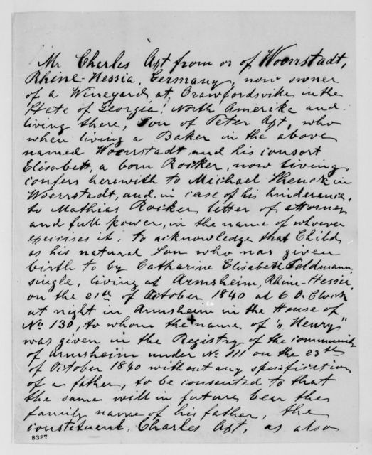 Alexander Hamilton Stephens Papers: General Correspondence, 1784-1886; 1867, May 14-Dec. 4