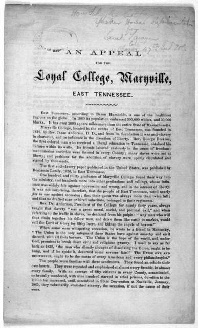 An appeal for the Loyal College, Maryville, East Tennessee. [1867].
