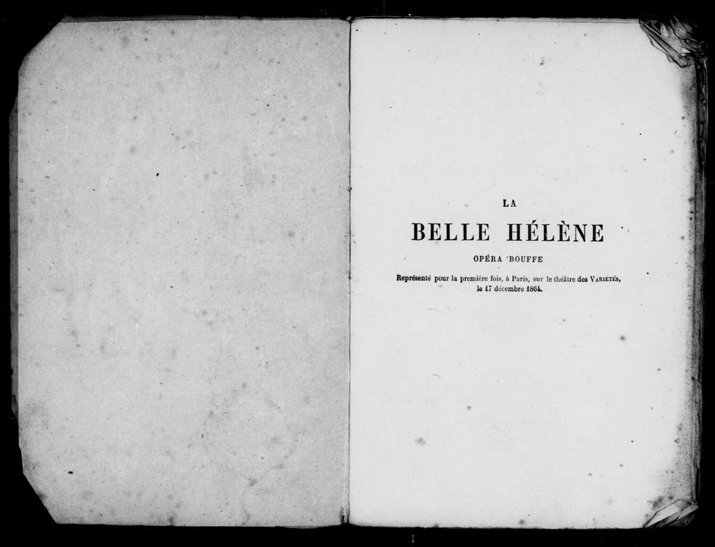 Belle Hélène. Libretto. French